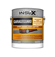 GUTHRIE PAINT GarageGuard is a water-based, catalyzed epoxy that delivers superior chemical, abrasion, and impact resistance in a durable, semi-gloss coating. Can be used on garage floors, basement floors, and other concrete surfaces. GarageGuard is cross-linked for outstanding hardness and chemical resistance.  Waterborne 2-part epoxy Durable semi-gloss finish Will not lift existing coatings Resists hot tire pick-up from cars Recoat in 24 hours Return to service: 72 hours for cool tires, 5-7 days for hot tiresboom