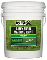 Valley Paint and Hardware Insl-X Latex Field Marking Paint is specifically designed for use on natural or artificial turf, concrete and asphalt, as a semi-permanent coating for line marking or artistic graphics.  Fast Drying Water-Based Formula Will Not Kill Grass