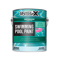 BREWSTER PAINT & DECORATING CENTER Waterborne Swimming Pool Paint is a coating that can be applied to slightly damp surfaces, dries quickly for recoating, and withstands continuous submersion in fresh or salt water. Use Waterborne Swimming Pool Paint over most types of properly prepared existing pool paints, as well as bare concrete or plaster, marcite, gunite, and other masonry surfaces in sound condition.  Acrylic emulsion pool paint Can be applied over most types of properly prepared existing pool paints Ideal for bare concrete, marcite, gunite & other masonry Long lasting color and protection Quick dryingboom
